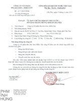 Báo cáo tài chính hợp nhất quý 2 năm 2015 - Công ty Cổ phần Bia Sài Gòn - Miền Tây