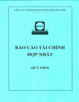 Báo cáo tài chính hợp nhất quý 1 năm 2016 - Công ty cổ phần Đại lý Hàng hải Việt Nam
