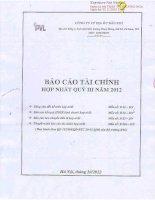Báo cáo tài chính hợp nhất quý 3 năm 2012 - Công ty cổ phần Địa ốc Dầu khí
