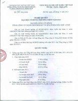 Nghị quyết Đại hội cổ đông thường niên năm 2011 - Tổng Công ty Dung dịch khoan và Hóa phẩm Dầu khí-CTCP