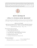 Bản cáo bạch - Công ty cổ phần Dược phẩm OPC