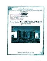 Báo cáo tài chính hợp nhất quý 4 năm 2011 - Công ty Cổ phần Đầu tư và Xây dựng Cấp thoát nước