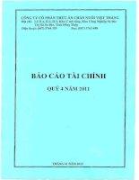 Báo cáo tài chính quý 4 năm 2011 - Công ty Cổ phần Thức ăn Chăn nuôi Việt Thắng