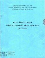 Báo cáo tài chính công ty mẹ quý 3 năm 2015 - CTCP Nhựa Việt Nam