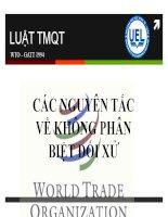 Bài giảng luật thương mại quốc tế bài 5 MFN các nguyên tắc về không phân biệt đối xử đối xử tối hệu quốc