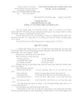 Nghị quyết Hội đồng Quản trị ngày 29-03-2011 - Công ty Cổ phần Bến xe Miền Tây