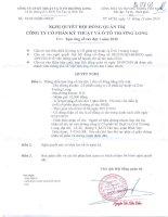 Nghị quyết Hội đồng Quản trị ngày 13-12-2010 - Công ty Cổ phần Kỹ thuật và Ô tô Trường Long