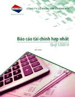 Báo cáo tài chính hợp nhất quý 1 năm 2014 - Công ty Cổ phần Đầu tư và Dịch vụ Khánh Hội