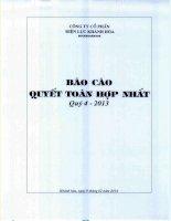 Báo cáo tài chính hợp nhất quý 4 năm 2013 - Công ty Cổ phần Điện lực Khánh Hòa