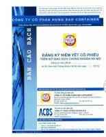 Bản cáo bạch - Công ty Cổ phần Hưng Đạo Container