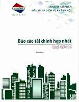 Báo cáo tài chính hợp nhất quý 4 năm 2015 - Công ty Cổ phần Đầu tư và Dịch vụ Khánh Hội