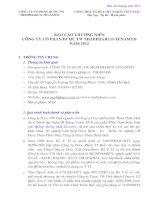 Báo cáo thường niên năm 2012 - Công ty Cổ phần Dược trung ương Medipharco - Tenamyd