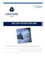 Báo cáo thường niên năm 2009 - Công ty cổ phần Đầu tư và Phát triển Đô thị Long Giang