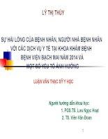 SỰ hài LòNG của BỆNH NHÂN, NGƯỜI NHÀ BỆNH NHÂN với các DỊCH vụ y tế tại KHOA KHÁM BỆNH  BỆNH VIỆN BẠCH MAI năm 2014 và một số yếu tố ẢNH HƯỞNG