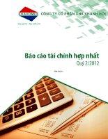 Báo cáo tài chính hợp nhất quý 2 năm 2012 - Công ty Cổ phần Đầu tư và Dịch vụ Khánh Hội