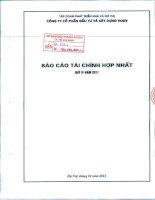Báo cáo tài chính hợp nhất quý 4 năm 2011 - Công ty cổ phần Đầu tư và Xây dựng HUD3