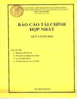 Báo cáo tài chính hợp nhất quý 1 năm 2014 - Công ty Cổ phần Liên doanh Đầu tư Quốc tế KLF