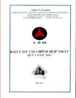 Báo cáo tài chính hợp nhất quý 1 năm 2013 - Công ty Cổ phần Khoáng sản và Vật liệu xây dựng Lâm Đồng