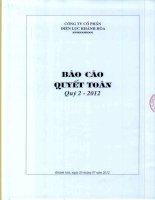 Báo cáo tài chính công ty mẹ quý 2 năm 2012 - Công ty Cổ phần Điện lực Khánh Hòa