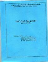 Báo cáo tài chính quý 3 năm 2011 - Công ty Cổ phần Xuất nhập khẩu Khoáng sản Hà Nam