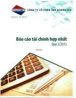 Báo cáo tài chính hợp nhất quý 2 năm 2013 - Công ty Cổ phần Đầu tư và Dịch vụ Khánh Hội