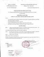 Nghị quyết Hội đồng Quản trị - Công ty Cổ phần Chứng khoán Kim Long