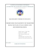 CREDIT RISK MANAGEMENT OF MARITIME BANK VIETNAM EVALUATIONS AND RECOMMENDATIONS