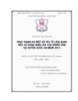 THỰC TRẠNG và một số yếu tố LIÊN QUAN VIỆC sử DỤNG rượu BIA của NGƯỜI dân tại HUYỆN QUỐC OAI năm 2015