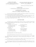 Nghị quyết Đại hội cổ đông thường niên năm 2009 - CTCP Than Hà Lầm - Vinacomin