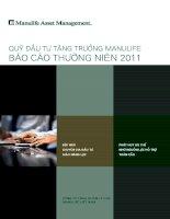 Báo cáo thường niên năm 2011 - Quỹ đầu tư tăng trưởng Manulife