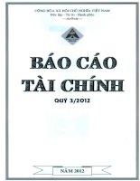 Báo cáo tài chính quý 3 năm 2012 - Công ty Cổ phần Đầu tư Xây dựng Hồng Phát