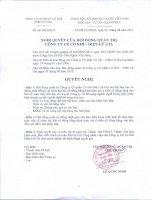 Nghị quyết Hội đồng Quản trị ngày 03-08-2011 - Công ty Cổ phần Đầu tư Cầu đường CII