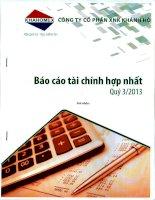 Báo cáo tài chính hợp nhất quý 3 năm 2013 - Công ty Cổ phần Đầu tư và Dịch vụ Khánh Hội