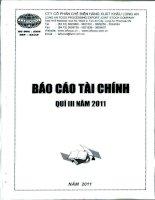 Báo cáo tài chính quý 3 năm 2011 - Công ty Cổ phần Chế biến Hàng xuất khẩu Long An