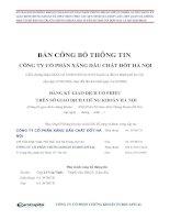 Bản cáo bạch - Công ty Cổ phần Xăng dầu Chất đốt Hà Nội