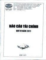 Báo cáo tài chính quý 4 năm 2011 - Công ty Cổ phần Chế biến Hàng xuất khẩu Long An