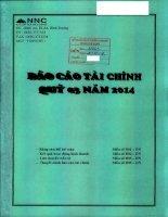 Báo cáo tài chính quý 3 năm 2014 - Công ty Cổ phần Đá Núi Nhỏ
