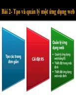 Giáo trình thiết kế Webside bằng Visual Studio 2008 Bài 2: Tạo ( HTML) và quản lý một ứng dụng Web