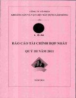 Báo cáo tài chính hợp nhất quý 3 năm 2011 - Công ty Cổ phần Khoáng sản và Vật liệu xây dựng Lâm Đồng