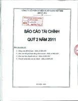 Báo cáo tài chính công ty mẹ quý 2 năm 2011 - Công ty Cổ phần Cơ điện và Xây dựng Việt Nam