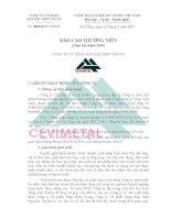 Báo cáo thường niên năm 2010 - Công ty cổ phần Kim khí miền Trung