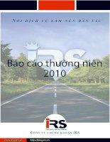 Báo cáo thường niên năm 2010 - Công ty Cổ phần Chứng khoán Quốc tế Hoàng Gia