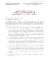 Báo cáo thường niên năm 2013 - Công ty Cổ phần Dược trung ương Medipharco - Tenamyd