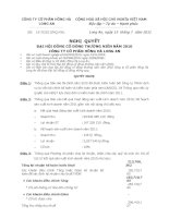 Nghị quyết Đại hội cổ đông thường niên năm 2011 - Công ty Cổ phần Hồng Hà Long An