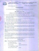 Nghị quyết Hội đồng Quản trị - Công ty Cổ phần Khoáng sản Hòa Bình