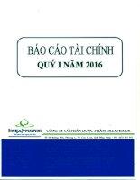Báo cáo tài chính quý 1 năm 2016 - Công ty Cổ phần Dược phẩm IMEXPHARM