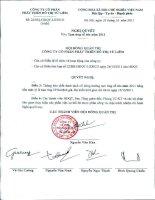 Nghị quyết Hội đồng Quản trị ngày 26-10-2011 - Công ty Cổ phần Phát triển Đô thị Từ Liêm