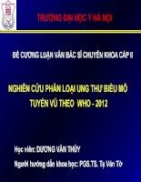NGHIêN cứu PHÂN LOẠI UNG THƯ BIỂU mô TUYẾN vú THEO  WHO   2012