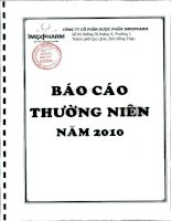 Báo cáo thường niên năm 2010 - Công ty Cổ phần Dược phẩm IMEXPHARM