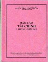 Báo cáo tài chính quý 3 năm 2013 - CTCP Bến xe Hà Nội
